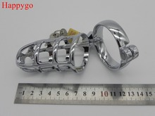 Happygo, Medium Size Alloy Metal Chastity Cages,Cock Cage,Penis Lock,45mm Inner Diameter Penis Ring,Adult Game,Sex Toy(China)