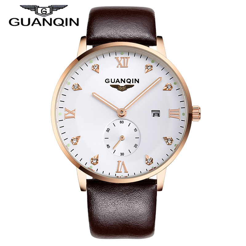 Luxury Brand GUANQIN New Fashion Mens Quartz Watch Leather Strap Luminous Rose Gold Small Second Dial Rhinestone Watches<br><br>Aliexpress