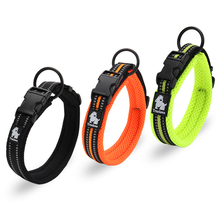 Adjustable Mesh Padded Pet Dog Collar 3M Reflective Nylon Dog Collar Durable Heavy Duty for all breed all weather 8 Sizes