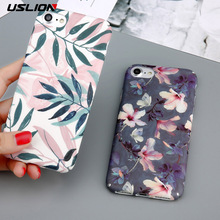USLION Phone Case For iPhone 7 Plus Retro Style Rose Flower Paint Leaves Hard PC Cases Back Cover Fundas For iPhone7 Plus(China)