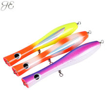 100g JE Topwater Wooden Poppers GT Surface Popping Lures Deep Sea Handmade Fishing Baits for Open Ocean Angling Trolling