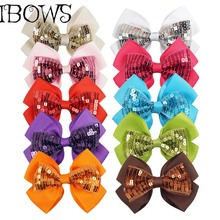 10Colos Boutique Grosgrain Ribbon Hair Bows Hairpins With Sequin Hair Barrettes Women Girl's Children Hair Accessories(China)