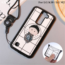 For LG K10 Lte K430DS K410 K420N K430DSF/LG M2 Silicone Back Cover With Phone Bracket Holder 360 Degrees Finger Ring Stand Case