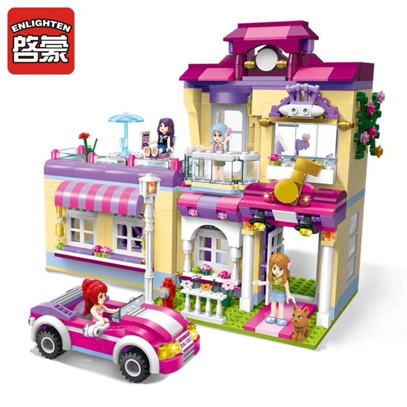 Enlighten Building Block Girls Friends Star Training Center 4 Figures 729pcs Educational Bricks Toy For Girl Gift<br>
