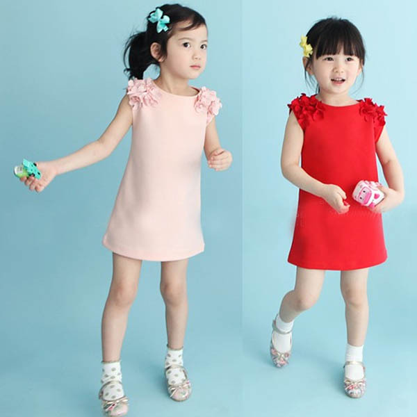 2-7Y Girls Summer Sleeveless Short Dress Baby Shoulder Flower Shirt Princess<br><br>Aliexpress