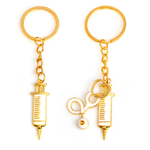 Cylinder Stethoscope Key chain Mini Cartoon Syringe Keychain Family Health Doctor Nurse Memorial Fashion Key chain