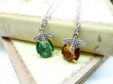 Bee Necklace Bee Charm Necklace Honey Drop Pendant Necklace Honey Bee Pendant Bee Jewelry ZJ118