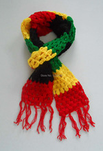 New Fashion Jamaica Rasta Reggae Scarf Handmade Crochet Knitting Wool Acrylic Scarves Wraps Neck Warmer Yellow Green Red Black