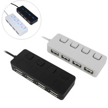 High Speed Slim 4 Ports USB 2.0 Hub with individual LED Power on/off Switch For Laptop PC Computer Wholesales Black/White