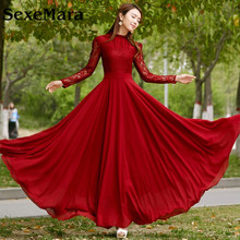 SexeMara Beautiful  New Style spring and summer Dress Lace Chiffon falbala collar pendulum thin long sleeved dress