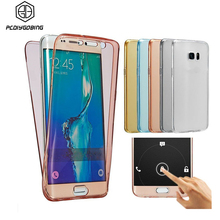 Dual layer Transparent TPU Touch Screen Cover Case For Samsung Galaxy J1 J3 J5 J7 2015 2016 J1 Mini Ace S3 S4 S5 S6 S7 Edge Plus