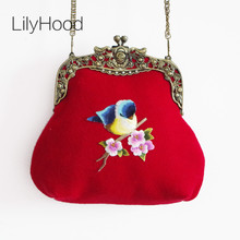 LilyHood Lady Wool Embroidery Handmade Vintage Retro Trendy Antique Old China Kiss Lock Small Cell Phone Frame Red Crossbody Bag