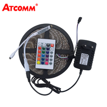 5050 RGB LED Strip Light 60 LEDs/m 5 Meters Waterproof IP67 LED Ribbon with 12V 3A Power Adapter 24Key IR Remote Controller