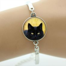 Buy Black Charm Bracelet gothic cat picture charm art gift friend family halloween glass jewelry bangle&bracelet for $1.20 in AliExpress store