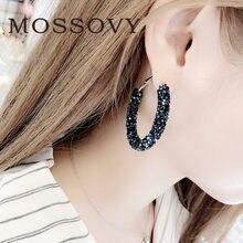 e8c054059086 Mossovy encanto círculo azul Stud Pendientes para las mujeres brillante  redondo Pendientes de diamantes de imitación de joyería .