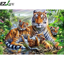1pcs 5D Diamond Painting Wall Pictures For Living Room Tigers Diamond Paintings Poster Round Resin Diamond Wall Picture LQW1003(China)
