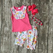 baby girls floral summer outfits kids floral shorts clothes hot pink top with shorts clothing with accessories
