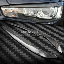 High Quality Real Carbon Fiber decoration Headlights Eyebrows Eyelids cover For Mitsubishi Lancer EVO 2008-2014