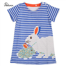 Pudcoco 2017 Hot Cute Baby Kids Girls Summer Dress Rabbit Cartoon Striped Dress Clothes 2-7Y
