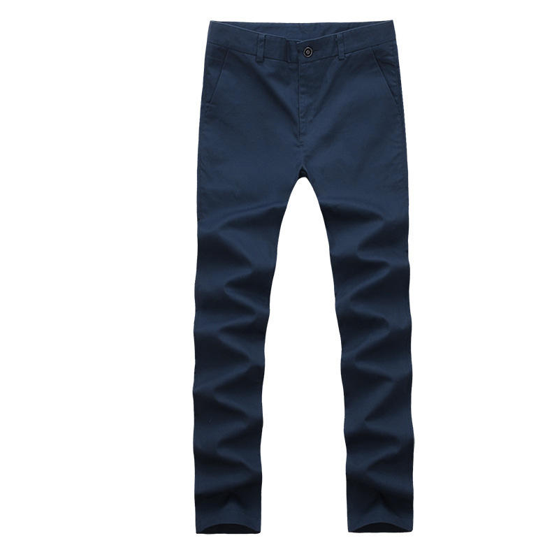 New black and navy blue two casual style 30-38 size solid color Ou code men's straight trousers