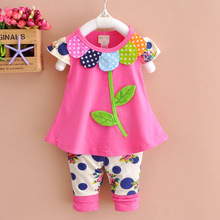 2017 Summer new baby girls clothes cotton 2pc suit O-neck flora rose yellow green color baby set A316
