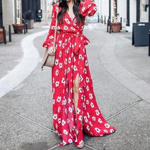 Buy 2018 Spring Women Floral Printed Dress Sexy V Neck Long Sleeve Bohemian Dress Elegant Summer Beach Vestidos Female WS5902S for $22.01 in AliExpress store