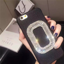 Coque Luxury Korean Style Square Bling Diamond Buckle Cover Simple PU Leather Protection Phone Case For iPhone 6 6S 7 Plus