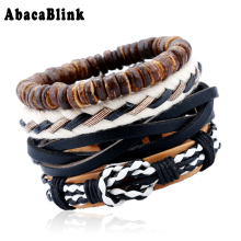 Buy 4PCS/ LOT Trendy 2018 Men Bracelets Wrist Band Cuff Jewelry Black White Leather Woven Chain Bracelet Bangle Beads String Braslet for $2.96 in AliExpress store