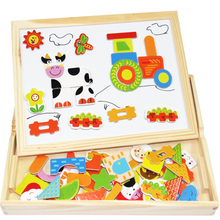 Multifunctional Educational Wooden Jigsaw Puzzle Toys Farm Jungle Animal Wooden Magnetic 3D Puzzles Baby's Drawing Easel Board