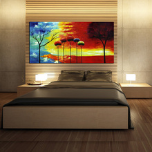 Impressionism Tree in Sunset Beautiful Red Painting Printed on Canvas Unframed Landscape Wall Art for Home Office Decoration