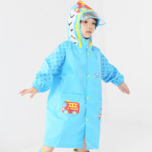Kids Hooded Rain Coat Children Raincoat Rainwear/Rainsuit with Schoolbag Waterproof Animal Raincoat Student Poncho Rain Gear