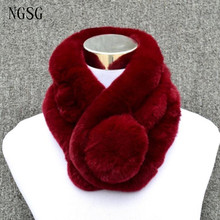 60cm Fur Pom Pom ball scarf for women winter fashion rex rabbit scarves solid muffler Mother neck warm ring