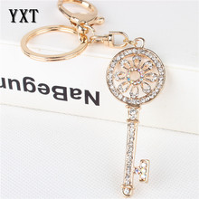 Vogue Vintage Key Round Flower New Crystal Charm Pendant Purse Bag Car KeyRing Chain Wedding Party Jewelry Favorite Gift