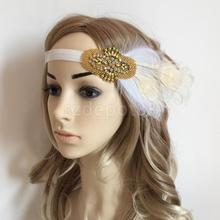 Gold Beads Headpiece Feather Flapper Headband Fascinator Wedding Bridal Party Fancy Dress Costume Hair Accessory(China)