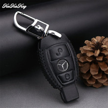 KUKAKEY Genuine Leather Black Car Key Case Cover Shell Fob Mercedes Benz W203 W210 W211 W124 W204 AMG C E S CLS CLK CLA SLK