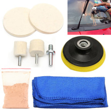 "7Pcs Auto Glass Polishing Kit Windscreen Rear Scratch Remover 70ml Solution + 3"" Wool Polishing Pads + Micro Fibre Cloth Mayitr(China)"