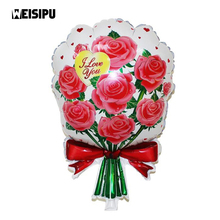 1pcs Aluminium Foil Roses Flower Balloon Valentine Day Party Toys Cartoon Wedding Balloons Party Decoration(China)