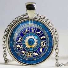 Fashionable vintage blue animal dome glass pendants yinyang wicca pendants & necklaces novelty jewelry gift
