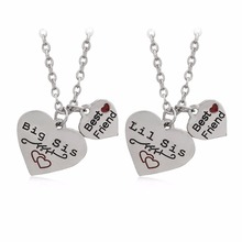 2 pcs / set 4 Hearts We Are Best Friends Forever Sisters BFF Silver Necklaces Red Love BIG SIS LIL SIS Birthday Gifts