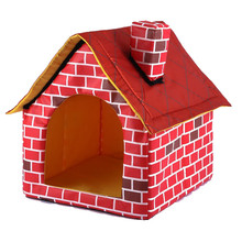 1pcs Summer Can Be Washable Red Brick Pet Nest Single Chimney House Dog Bed Easy Clean Sleeping Bag Cat Bed Portable Pet House