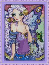 DIY Needlework Butterfly Fairy-Blue Fantasy and Romance DMC Counted Cross Stitch Kit Sets for Embroidery Knitting Needles Crafts