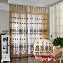 European jacquard embroidered design tulle fabrics 8 styles sheer curtains for balcony 1pcs finished product hooks