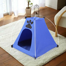 Lovely Pet Tent Folding Dog House Camping Cat Kennel Bed Beach Tent Kennel With Mat Striped Outdoor T10