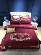 100% Egyptian cotton embroidery 4/7pcs Queen King  red Bedding Set duvet cover bed sheet fitted sheet pillowcase bed linen