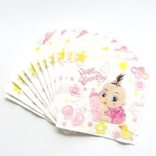 20pcs/lot Baby Girl Theme Party Paper Napkins Happy Birthday Party Supplies Paper Tissue Towels Baby Shower Favors(China)