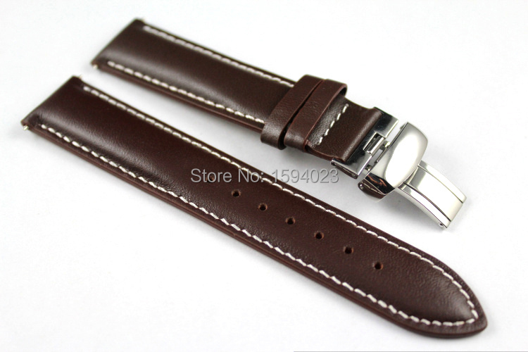 19mm (Buckle18mm) PRC200 T014410 T461 T17 T41 High Quality Silver Butterfly Buckle + Brown Genuine Leather Watch Bands Strap<br><br>Aliexpress