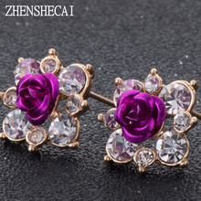 High Quality Rhinestone Flower Crystal Stud Earrings For Women Party Rose Pink Blue Romantic Boho Fashion Jewelry e0155(China)