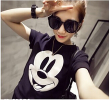 Mickey Printed White Portrait T Shirt Woman Summer Style Fashion Frayed Hole Style O-Neck Casual Pink Cute Cartoon Shirt