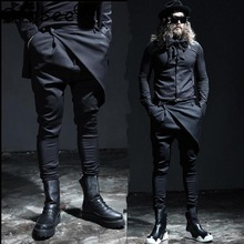 New men's pant male fashion casual skirt pant trousers men stage show punk slim fit boots black pant men autumn clothing A28