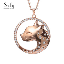Buy Cat Leopard Head Pendants Gold-Color Necklace Necklaces Women 2016 Rhinestone Long Necklace Ladies Fashion Jewelry XL07424 for $2.99 in AliExpress store